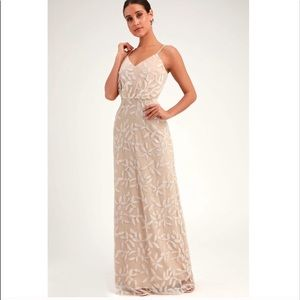 Lulu's Dresses - WAYF Savannah Beige Sequin Sleeveless Sequin Dress